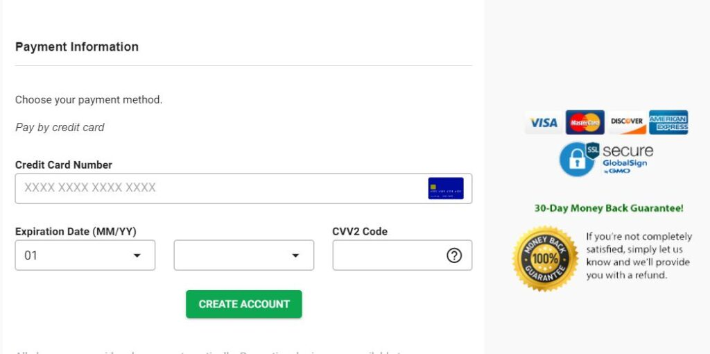 Payment information on Green Geeks