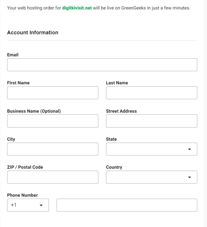 Green geek Personal information form